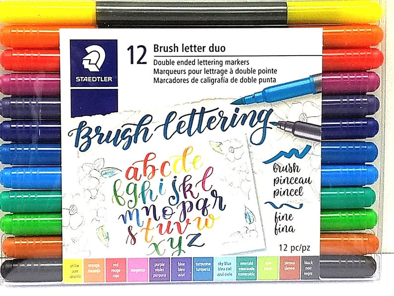 STAEDTLER Brush Letter Duo Double ended Lettering Markers 12  0c8d5918ef
