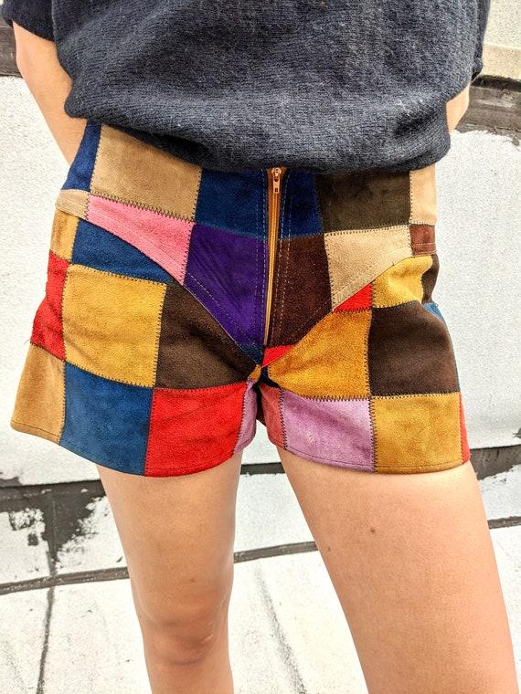 Vintage Suede Patchwork Shorts