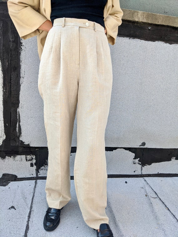 Linen Pleated Trousers - image 4