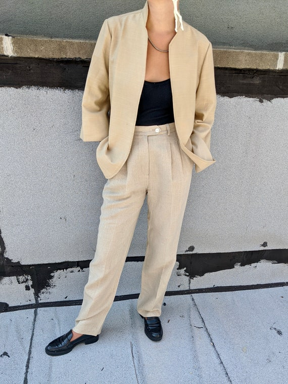Linen Pleated Trousers - image 2
