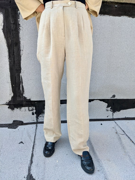 Linen Pleated Trousers - image 3