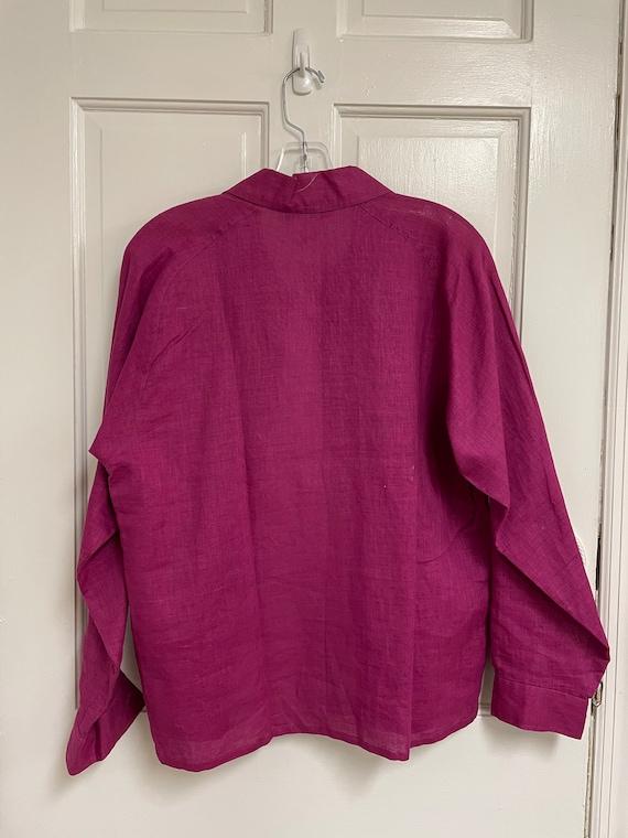 Vintage Pink Button Down Linen Blend Laura Adams … - image 6