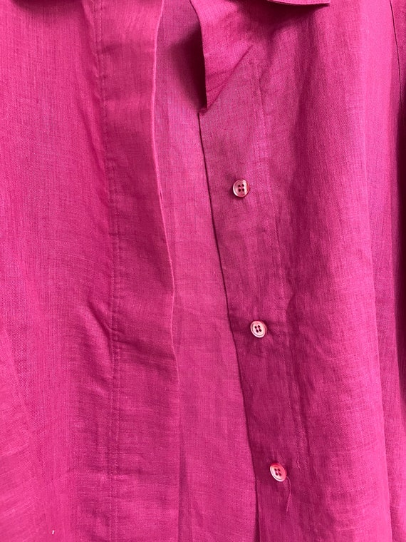 Vintage Pink Button Down Linen Blend Laura Adams … - image 4
