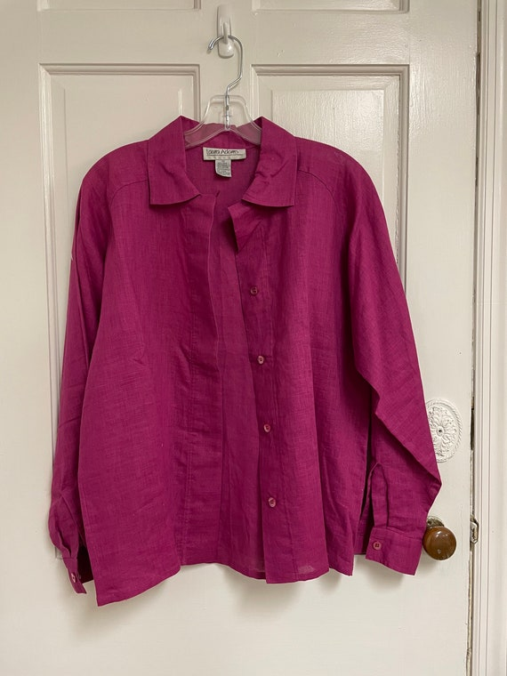 Vintage Pink Button Down Linen Blend Laura Adams … - image 3