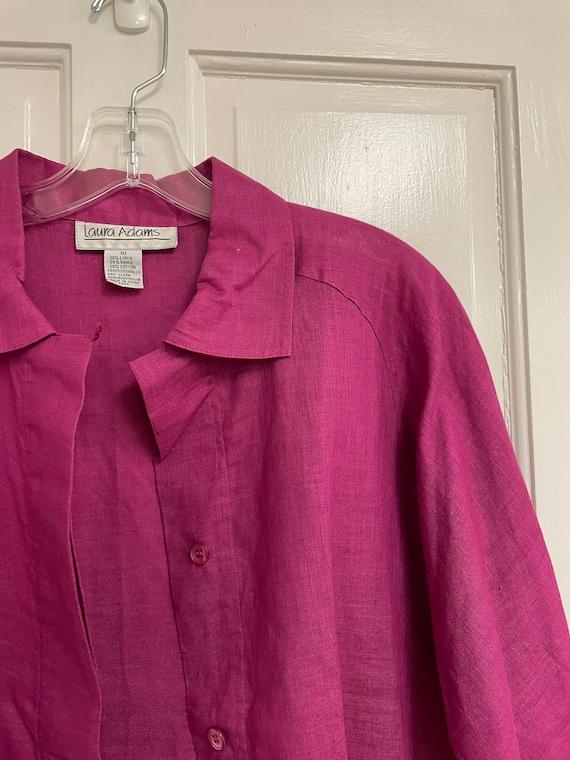 Vintage Pink Button Down Linen Blend Laura Adams … - image 5