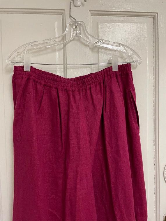 Vintage Pink Linen Pants 100% Linen Silx Elastic … - image 3