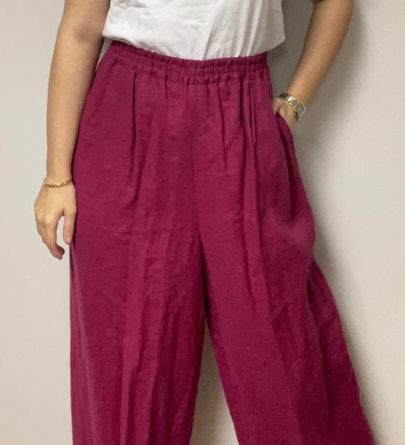 Vintage Pink Linen Pants 100% Linen Silx Elastic … - image 1
