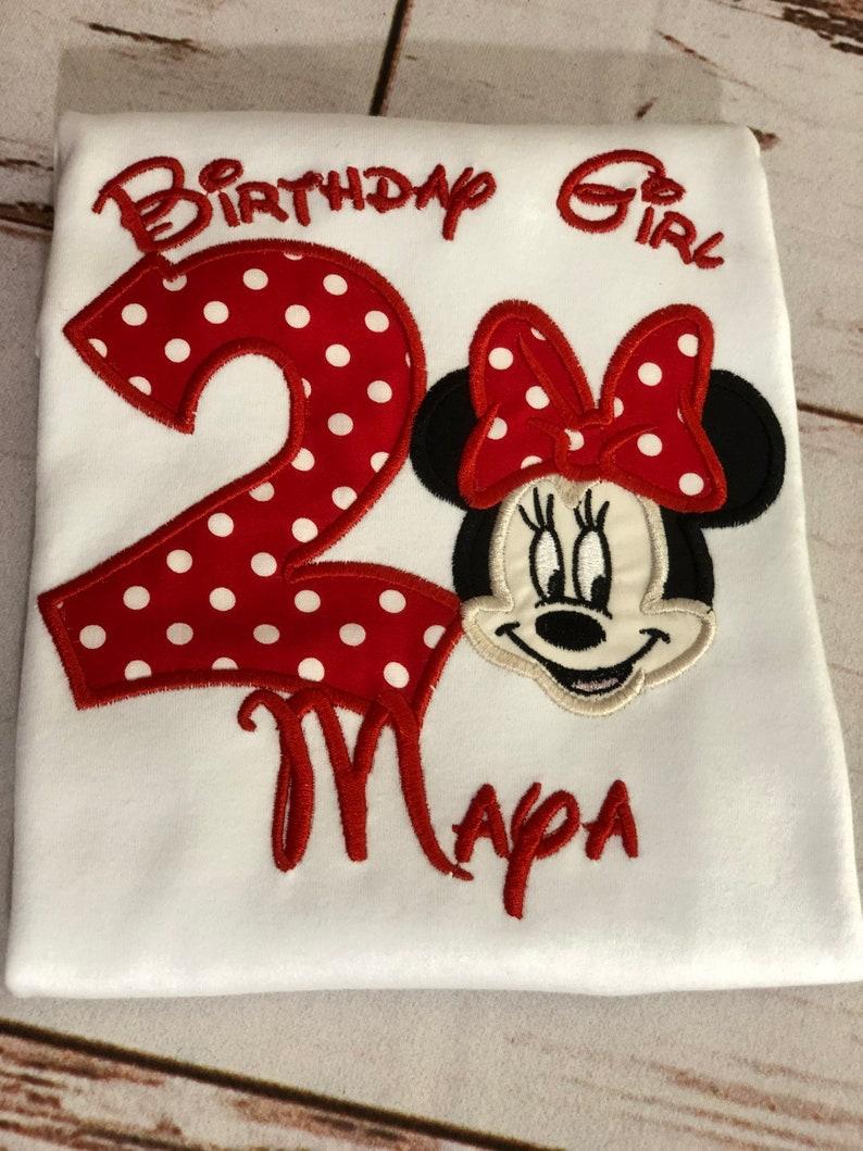 Red and Black minnie shirt,1st 2nd 3rd any age Birthday shirt,custom embroidered birthday shirt Minnie Mouse Birthday Shirt