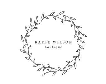 Premade Logo / Blog Header Design / Branding - Floral Botanical Wreath Design