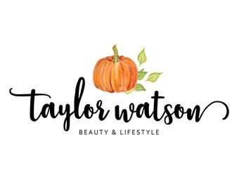 Premade Logo / Blog Header Design / Branding - Autumn Halloween Pumpkin Design