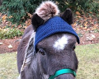Horse Bonnet - Horse Pom Pom Hat - Horse Clothing - Pom Pom Hat - Equestrian Gift - Winter Horse Bonnet
