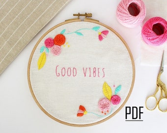 Floral Embroidery Pattern, PDF Download, Printable Stitching Pattern, Modern Embroidery Pattern, Needlecraft Design, Hand Embroidery PDF