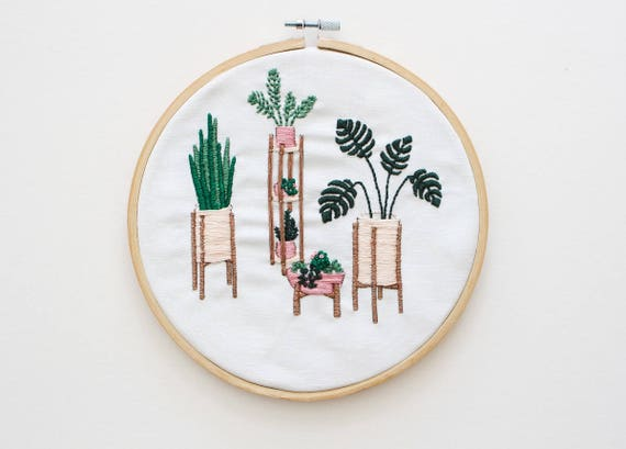 Modern Embroidery Kit Embroidery For Beginners Floral Etsy