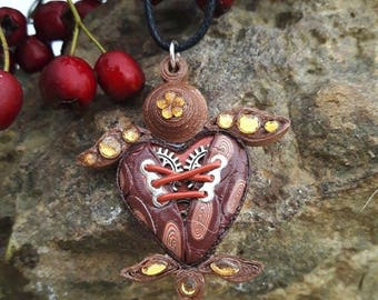 Polymer clay steampunk quilling Brown sea turtle necklace.