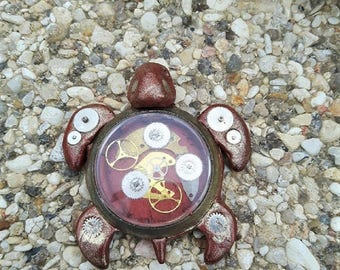Copper turtle decoration made of polymer clay steampunk.