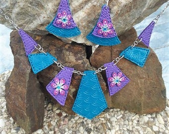 Blue and purple set made of polymer clay.