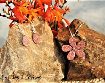 Romantic set rose gold flower made of polymer clay