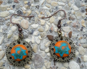 Blue hibiscus flower in polymer clay steampunk earrings