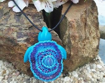 Mexican blue sea turtle necklace.
