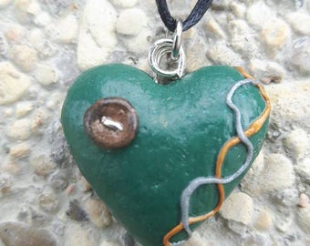 Green button Heart Necklace polymer clay.