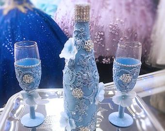 Brindis de Quinceañera, Champagne glasses Sweet Sixteen & quinceañera, Toasting set for Wedding