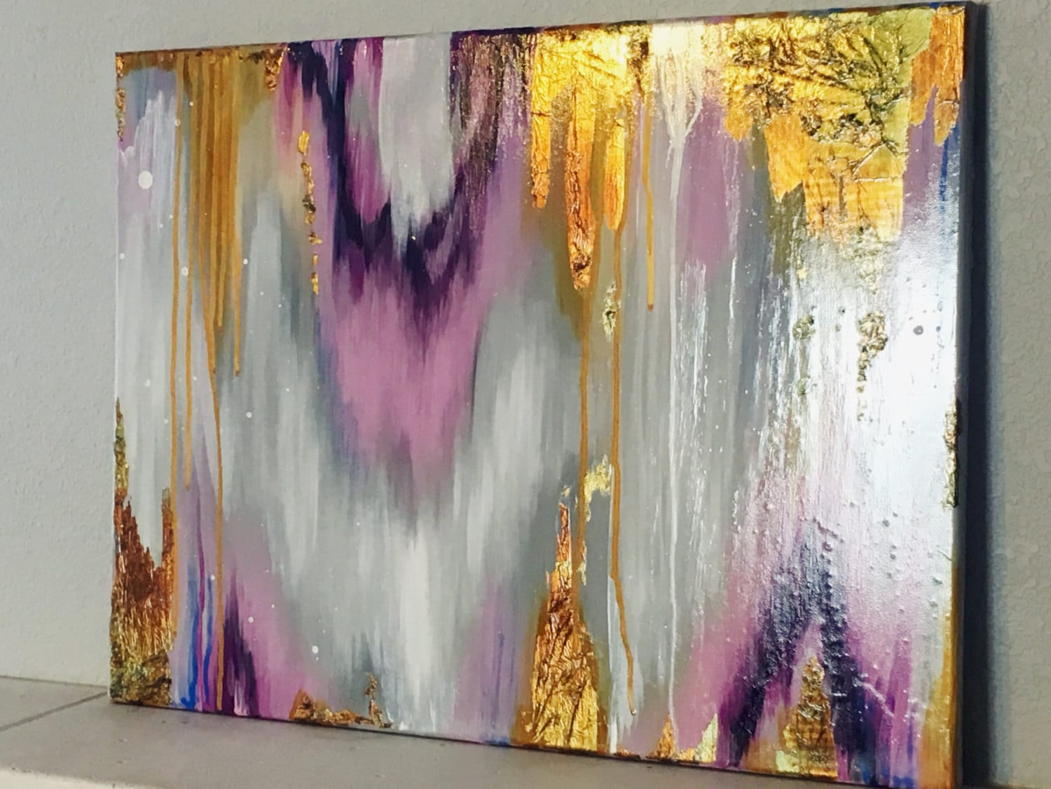 Sold Abstract Acrylic Gold Leaf Art Purple Gray And