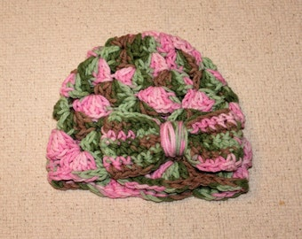 Baby Girl Pink and Green Camo Crochet Beanie