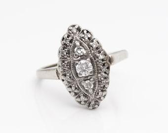 Circa 1950s Retro Vintage Diamond Marquise Shape 10k White Gold Ring, VJ #833