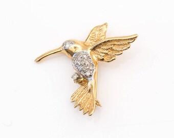 Vintage Diamond & 14k Gold Hummingbird Brooch Pin, VJ #924