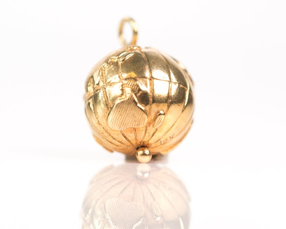 Circa 1970s 14k Yellow Gold Spinning Globe Charm Pendant, Vj#208 by Etsy
