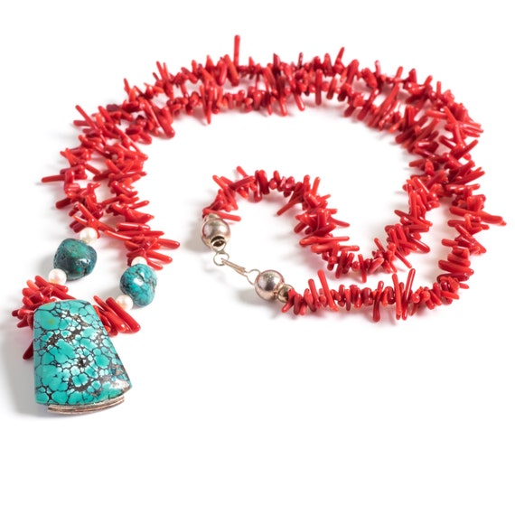 Turquoise & Red Coral 1950s Handmade Necklace, VJ