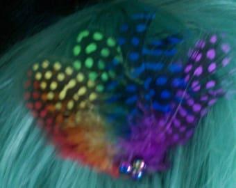 Rainbow Feather Hair Comb