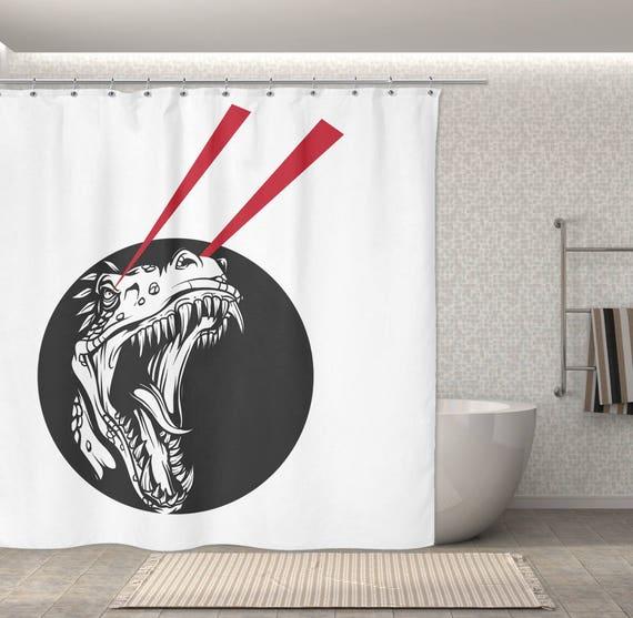 Dinosaur Shower Curtain Free Liner Hooks T Rex