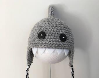 Crochet shark hat for cat/small dog handmade super cute