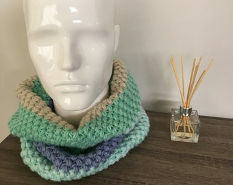 Handmade crochet thick bubble infinity scarf/cowl/wrap in shades of green