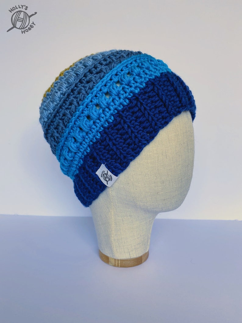 gap for  long hair ponytail or bun blue and gold crochet hat with textures and bobbles Messy bun beanie