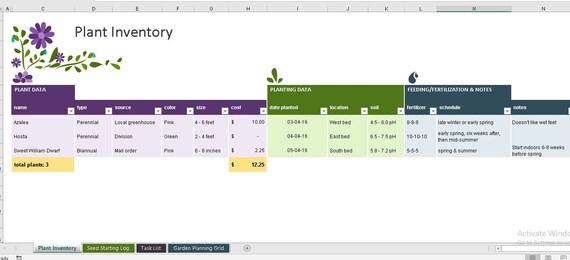 Garden Planner Tracker Excel Planner Tracker Instant Etsy