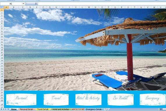 vacation planner excel vacation planner excel templates etsy