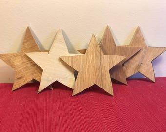 Rough cut handmade rustic wooden star craft supply DIY