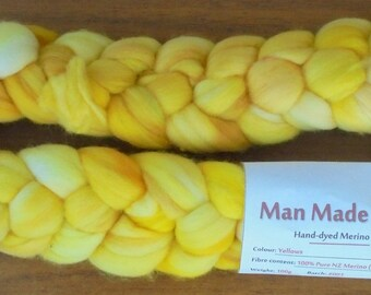 100g Hand-dyed Merino Top - Yellows