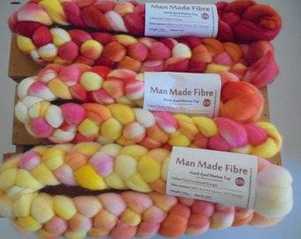 Hand-dyed Merino Top bundle - Red, Orange, Pinks, Yellows & White
