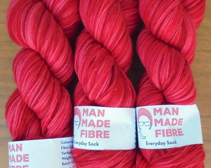 Sock (4Ply), hand-dyed yarn, 100g - Simply Red