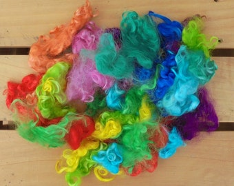 50g Hand-dyed Mohair Locks - Rainbow Mix