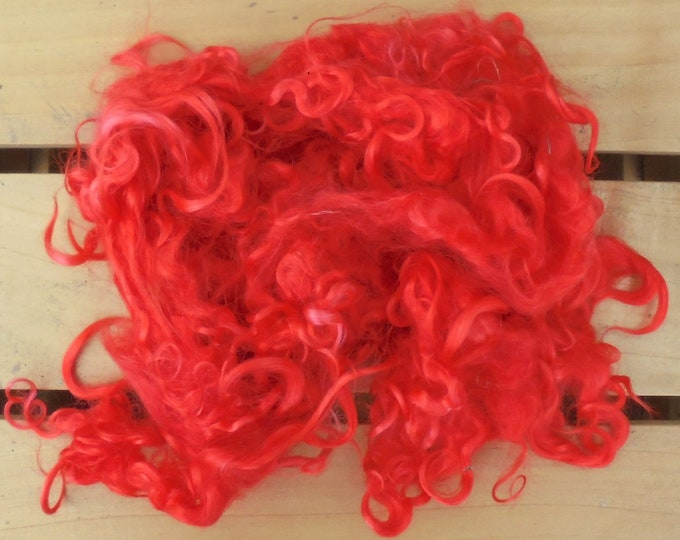 50g Hand-dyed Mohair Locks - Red