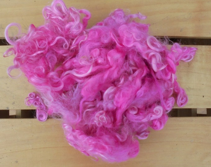 50g Hand-dyed Mohair Locks - Pink