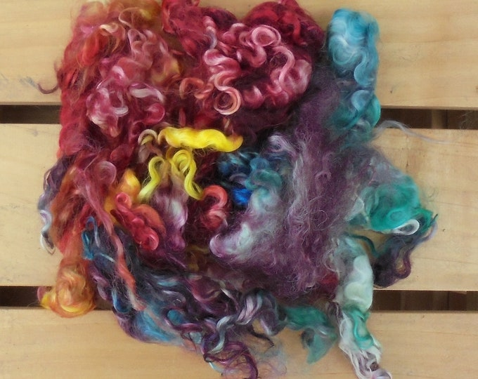 50g Hand-dyed Mohair Locks - Vintage Rainbow