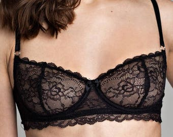 4941f4a3e8 Black see through bra Lace bralette Balconette bra Sheer lingerie Mesh  lingerie Lingerie sexy Lace underwear Bridal shower gift Gift for her