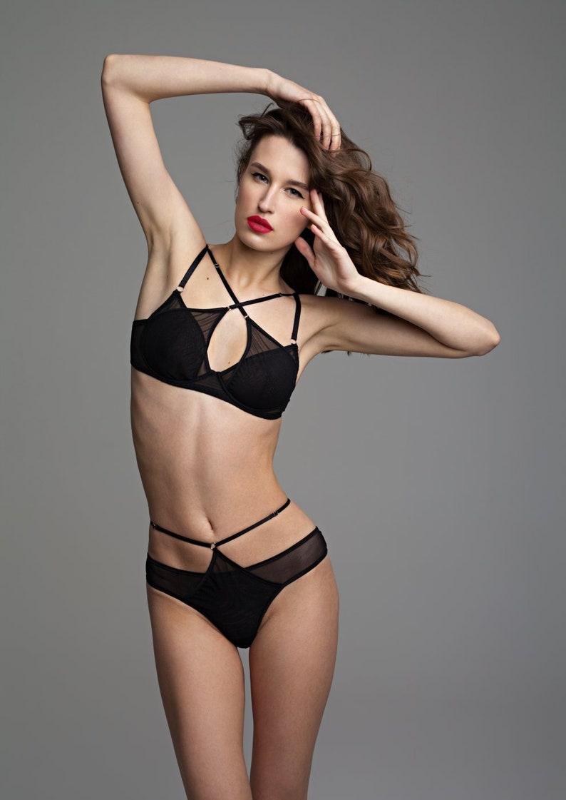 dc04d2831 Harness lingerie Black sheer lingerie set Thong bikini See