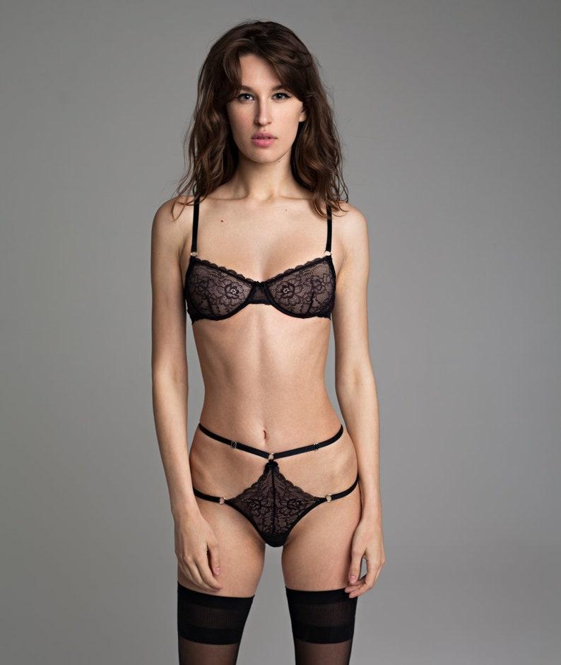 5a27dac3d Black sheer lingerie set women Sexy lingerie Lace lingerie