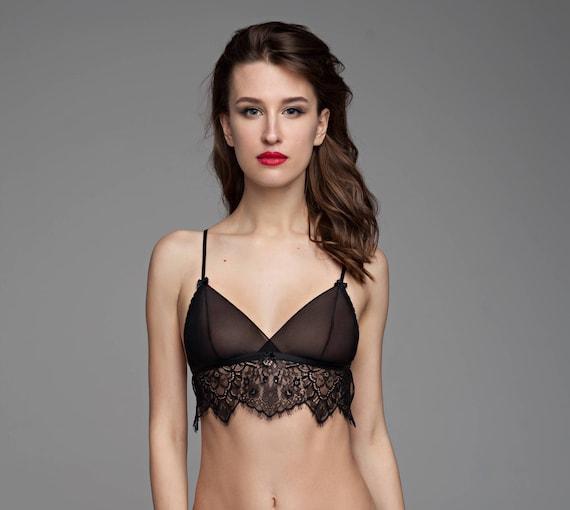 9958a43df93 Black see through bra Sheer bra Mesh bra Sissy bra Erotic